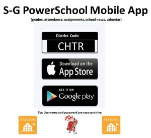 Showing the CHTR sign-in code for PowerSchool Apps