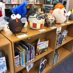 Some pumpkins on display in the library media center