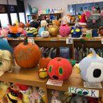 Pumpkins greet visitors tot he library