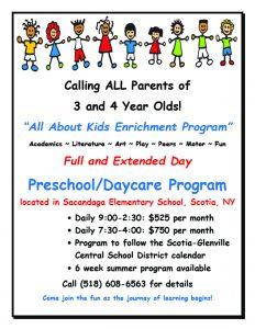 Flyer about All About Kids Enrichment Program