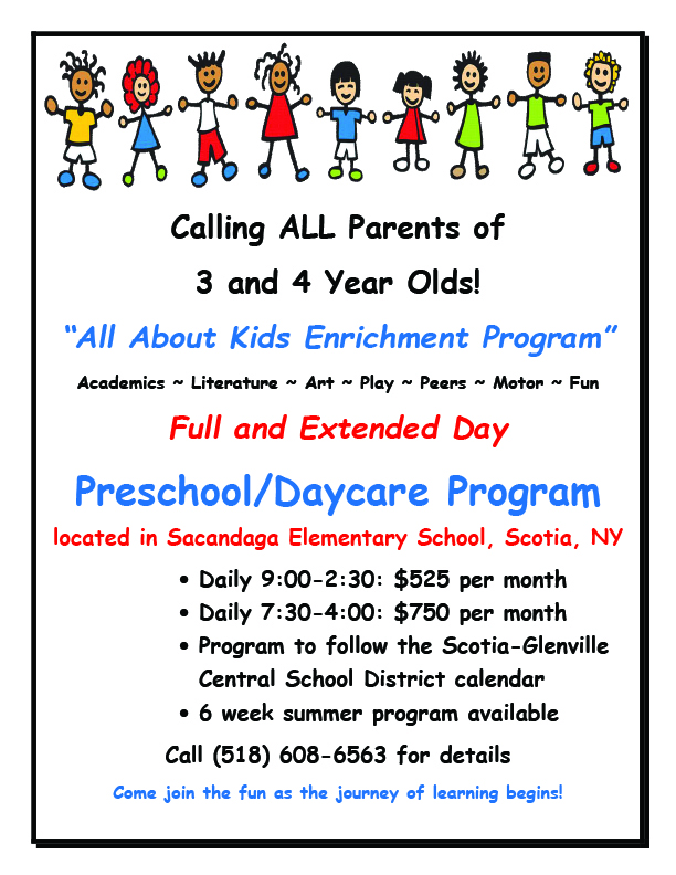 Flyer about All About Kids Enrichment Program